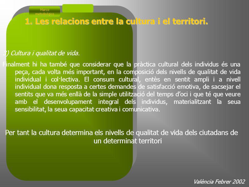 2) La dimensió econòmica La cultura es un sector emergente de demanda creciente Marco metodoógico València Febrer 2002