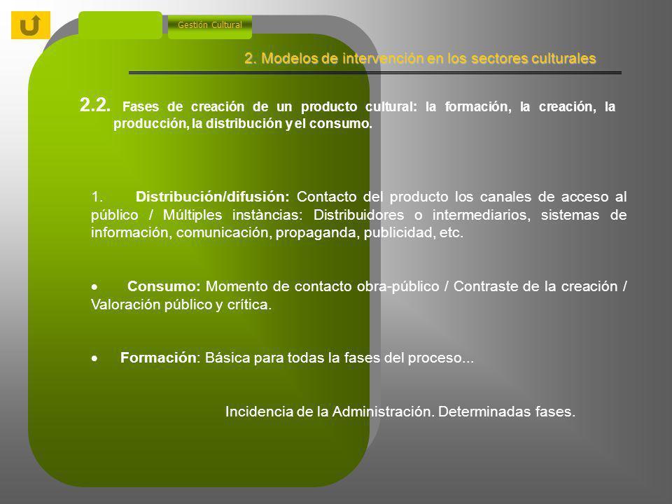 2. Modelos de intervención en los sectores culturales Gestión Cultural 2.2. Fases de creación de un producto cultural: la formación, la creación, la p