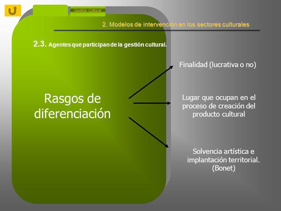 2. Modelos de intervención en los sectores culturales Gestión Cultural 2.2.