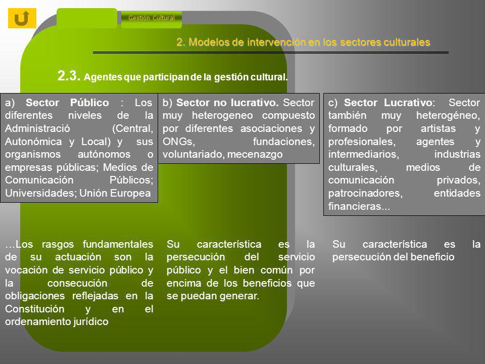 2. Modelos de intervención en los sectores culturales Gestión Cultural 2.3. Agentes que participan de la gestión cultural. Rasgos de diferenciación Fi