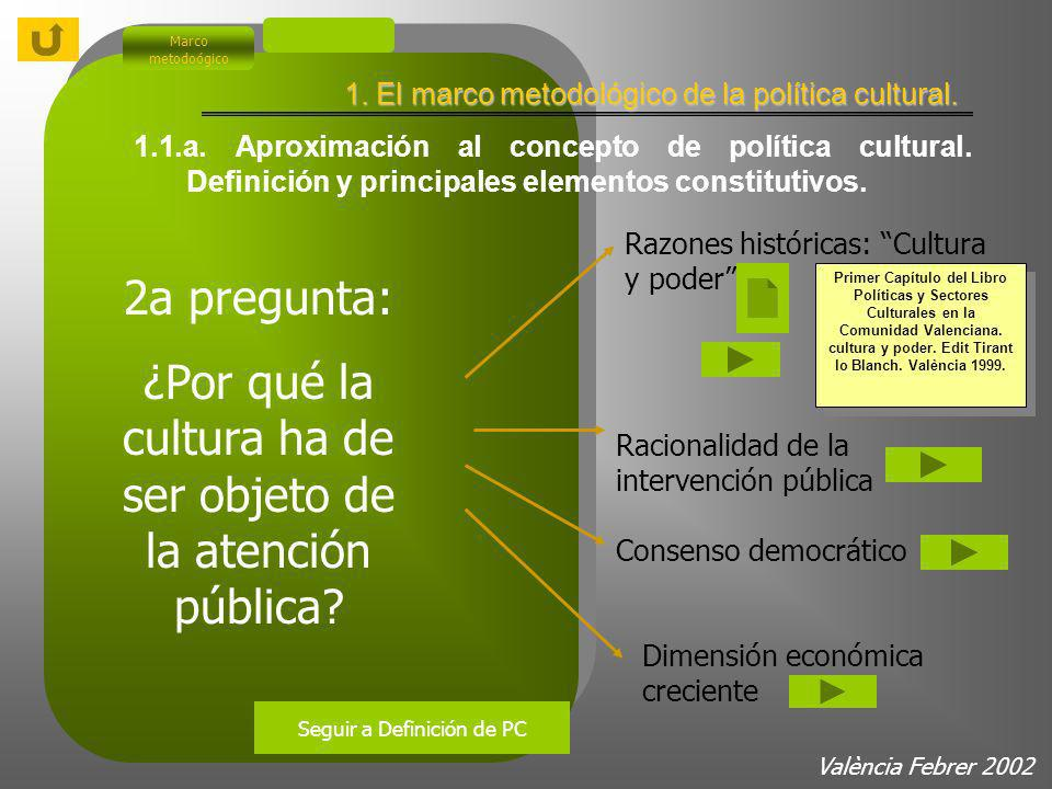 1. El marco metodológico de la política cultural. Marco metodoógico 1.1.a. Aproximación al concepto de política cultural. Definición y principales ele