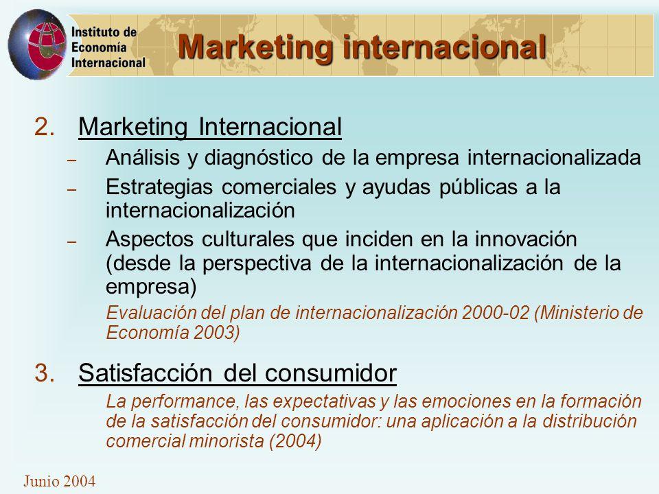 Junio 2004 Marketing internacional 2.Marketing Internacional – Análisis y diagnóstico de la empresa internacionalizada – Estrategias comerciales y ayu