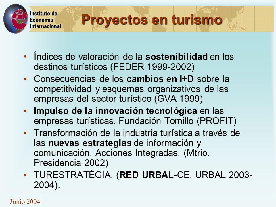 Junio 2004 Proyectos en turismo Índices de valoración de la sostenibilidad en los destinos turísticos (FEDER 1999-2002) Consecuencias de los cambios en I+D sobre la competitividad y esquemas organizativos de las empresas del sector turístico (GVA 1999) Impulso de la innovación tecnológica en las empresas turísticas.