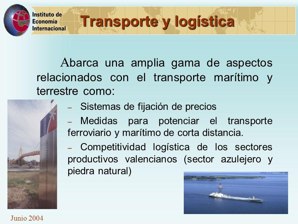 Junio 2004 Transporte y logística A barca una amplia gama de aspectos relacionados con el transporte marítimo y terrestre como: – Sistemas de fijación de precios – Medidas para potenciar el transporte ferroviario y marítimo de corta distancia.