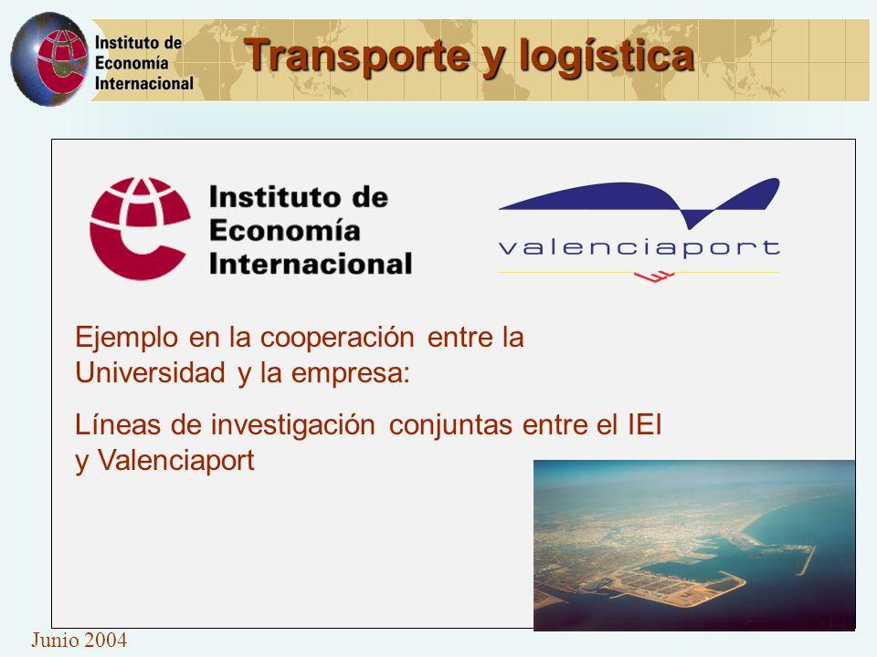 Junio 2004 Transporte y logística Ejemplo en la cooperación entre la Universidad y la empresa: Líneas de investigación conjuntas entre el IEI y Valenc