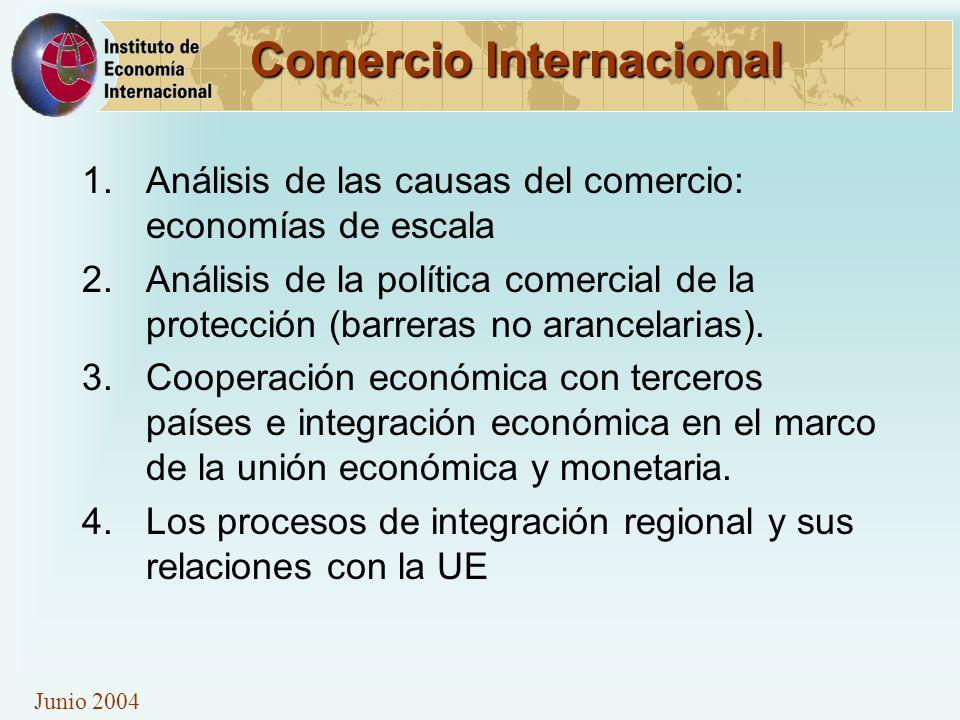 Junio 2004 Comercio Internacional 1.Análisis de las causas del comercio: economías de escala 2.Análisis de la política comercial de la protección (bar
