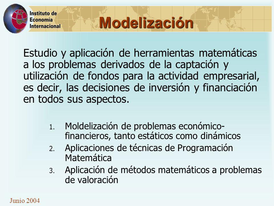 Modelización Estudio y aplicación de herramientas matemáticas a los problemas derivados de la captación y utilización de fondos para la actividad empresarial, es decir, las decisiones de inversión y financiación en todos sus aspectos.