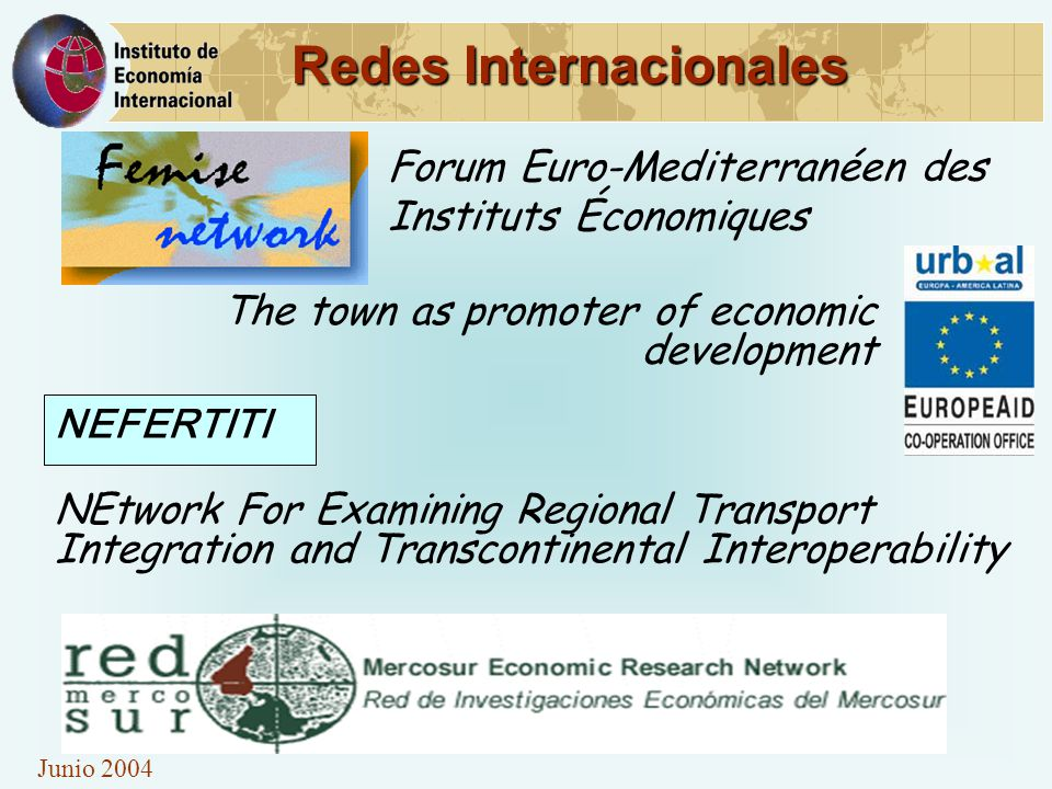 Junio 2004 Redes Internacionales The town as promoter of economic development Forum Euro-Mediterranéen des Instituts Économiques NEtwork For Examining Regional Transport Integration and Transcontinental Interoperability NEFERTITI
