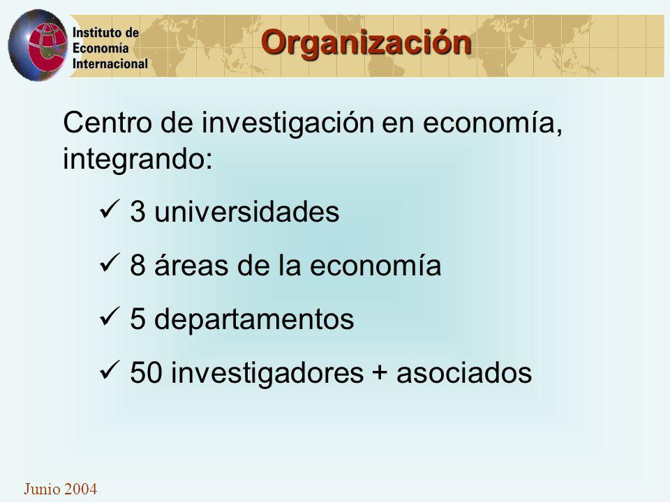 Junio 2004 Organización Centro de investigación en economía, integrando: 3 universidades 8 áreas de la economía 5 departamentos 50 investigadores + as