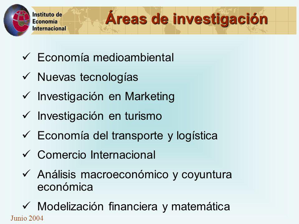 Junio 2004 Áreas de investigación Economía medioambiental Nuevas tecnologías Investigación en Marketing Investigación en turismo Economía del transporte y logística Comercio Internacional Análisis macroeconómico y coyuntura económica Modelización financiera y matemática