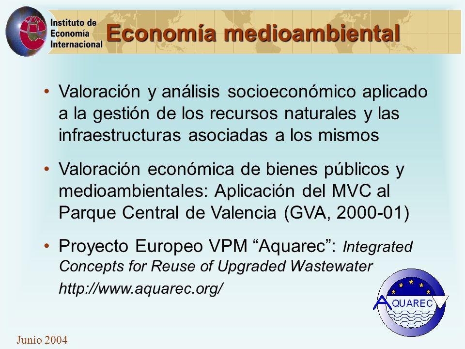 Junio 2004 Economía medioambiental Valoración y análisis socioeconómico aplicado a la gestión de los recursos naturales y las infraestructuras asociad