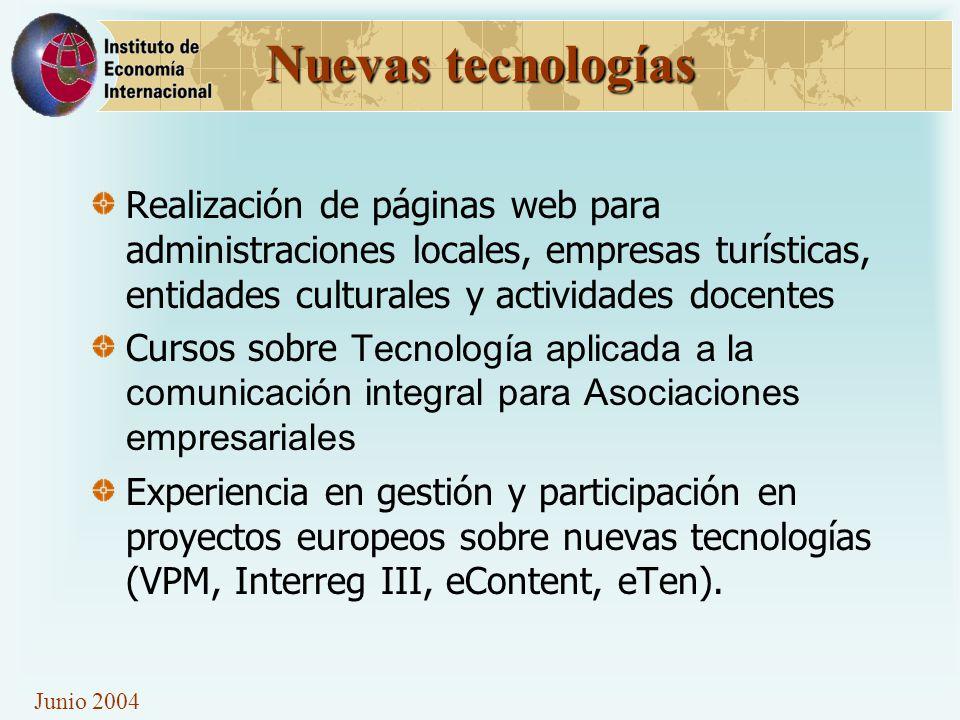 Nuevas tecnologías Realización de páginas web para administraciones locales, empresas turísticas, entidades culturales y actividades docentes Cursos s