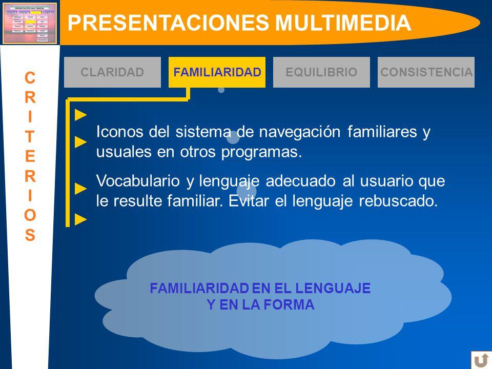 FAMILIARIDAD EN EL LENGUAJE Y EN LA FORMA PRESENTACIONES MULTIMEDIA CRITERIOSCRITERIOS CLARIDADFAMILIARIDADEQUILIBRIOCONSISTENCIA Iconos del sistema d
