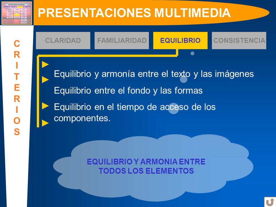 EQUILIBRIO Y ARMONIA ENTRE TODOS LOS ELEMENTOS PRESENTACIONES MULTIMEDIA CRITERIOSCRITERIOS CLARIDADFAMILIARIDADEQUILIBRIOCONSISTENCIA Equilibrio y ar