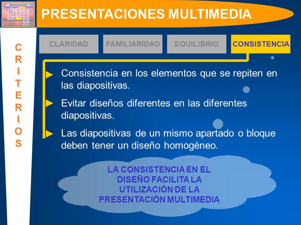 Consistencia en los elementos que se repiten en las diapositivas. Evitar diseños diferentes en las diferentes diapositivas. Las diapositivas de un mis