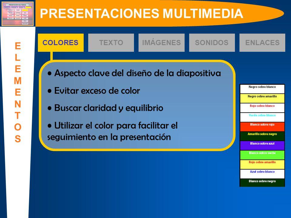 COLORESTEXTOIMÁGENESSONIDOS Aspecto clave del diseño de la diapositiva Evitar exceso de color Buscar claridad y equilibrio Utilizar el color para faci