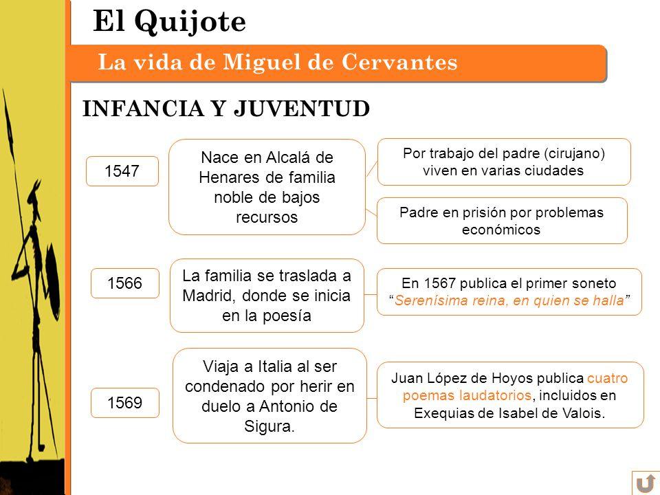 La vida de Miguel de Cervantes y Saavedra 1547 Por trabajo del padre (cirujano) viven en varias ciudades Padre en prisión por problemas económicos Nac
