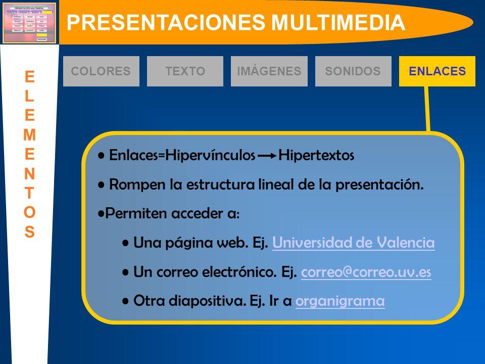 Enlaces=Hipervínculos Hipertextos Rompen la estructura lineal de la presentación. Permiten acceder a: Una página web. Ej. Universidad de ValenciaUnive