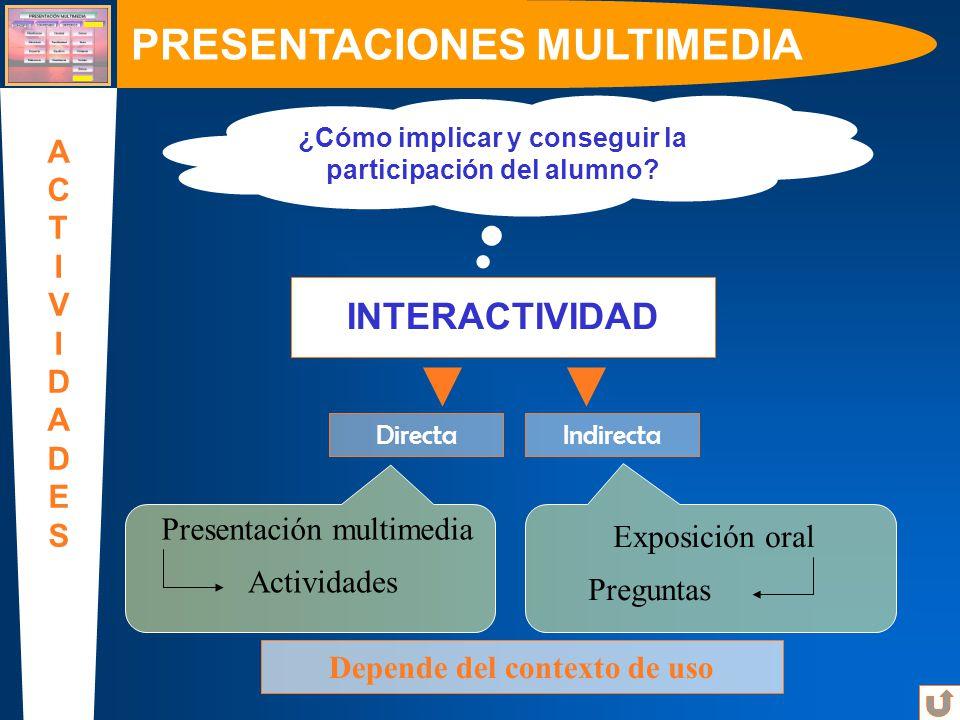 ¿Cómo implicar y conseguir la participación del alumno? Directa PRESENTACIONES MULTIMEDIA ACTIVIDADESACTIVIDADES INTERACTIVIDAD Indirecta Exposición o