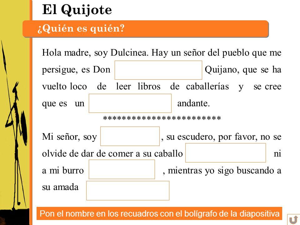 El Quijote ¿Quién es quién? Hola madre, soy Dulcinea. Hay un señor del pueblo que me persigue, es Don Quijano, que se ha vuelto loco de leer libros de