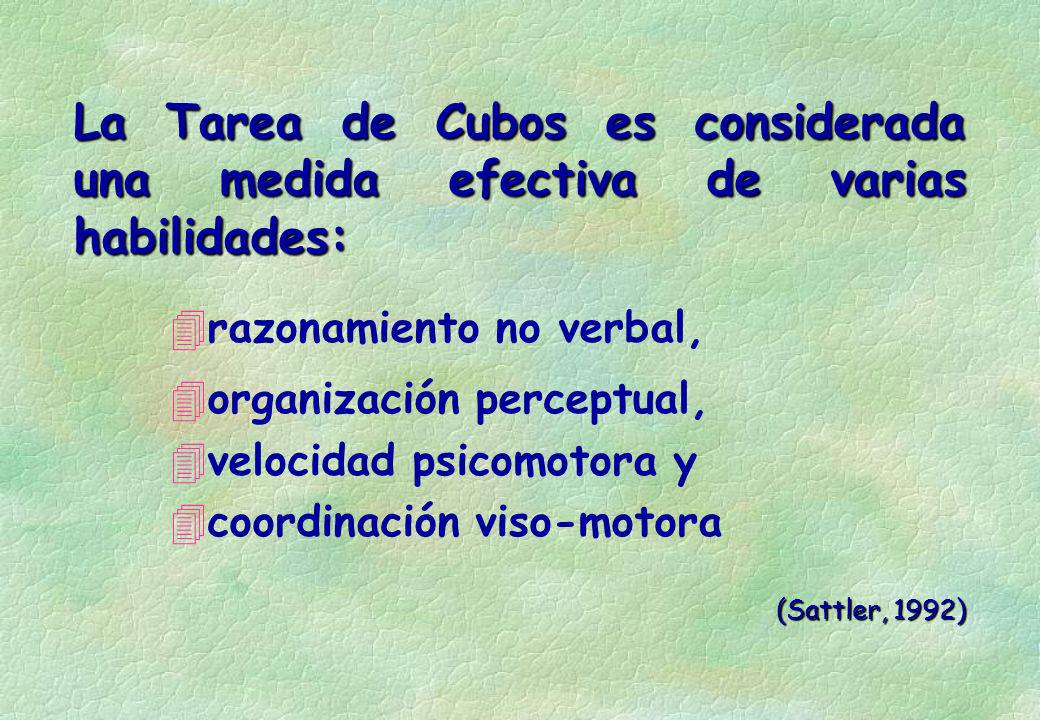 La Tarea de Cubos es considerada una medida efectiva de varias habilidades: 4razonamiento no verbal, 4organización perceptual, 4velocidad psicomotora