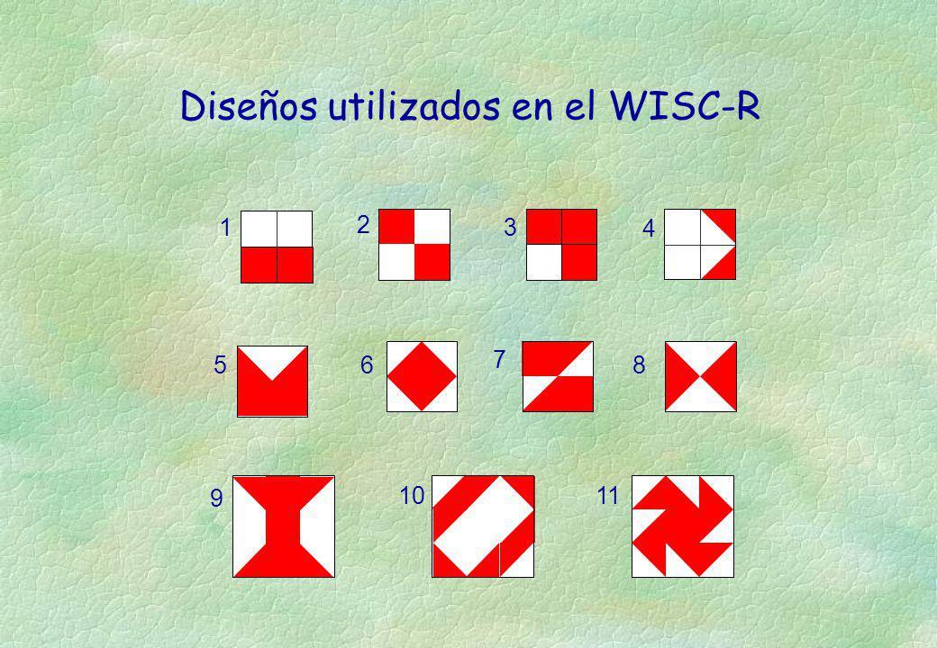 7 5 86 14 2 3 9 1110 Diseños utilizados en el WISC-R
