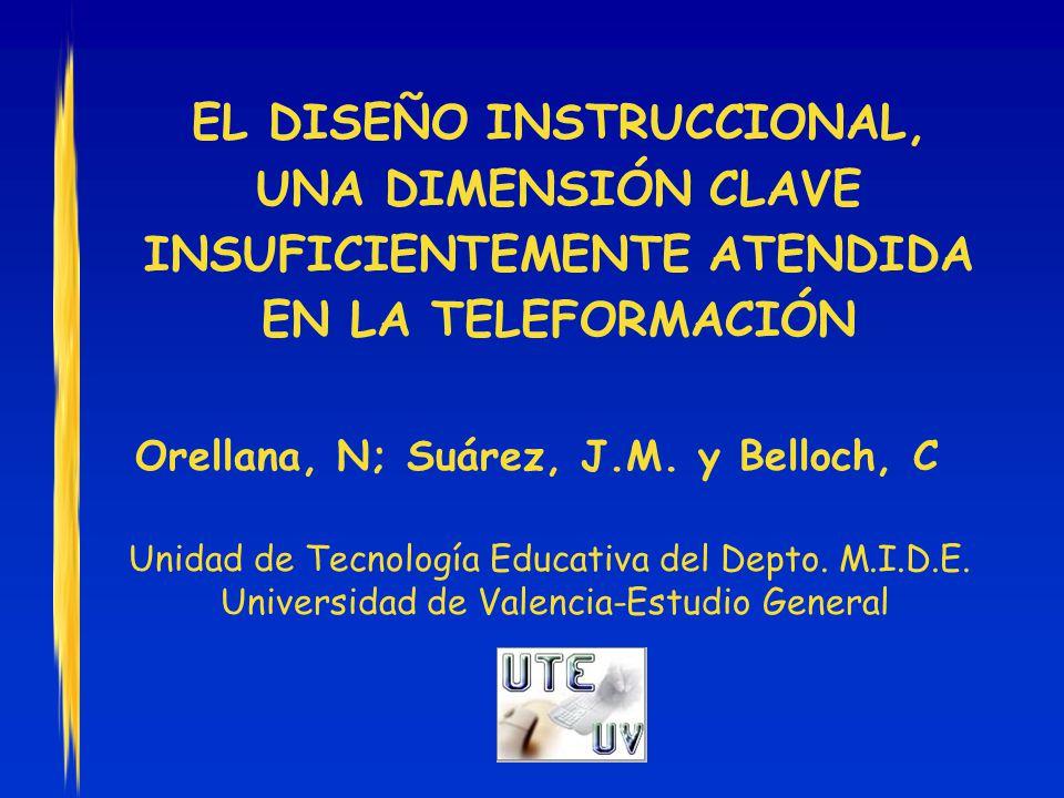 EL DISEÑO INSTRUCCIONAL, UNA DIMENSIÓN CLAVE INSUFICIENTEMENTE ATENDIDA EN LA TELEFORMACIÓN Orellana, N; Suárez, J.M.
