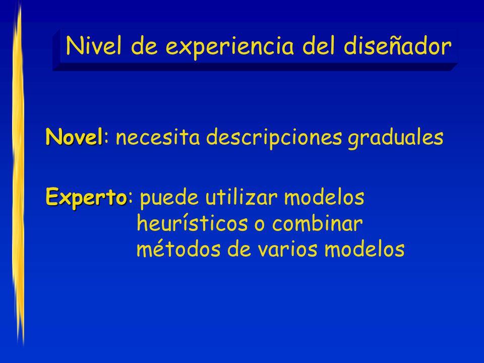 Nivel de experiencia del diseñador Novel Novel: necesita descripciones graduales Experto Experto: puede utilizar modelos heurísticos o combinar métodos de varios modelos