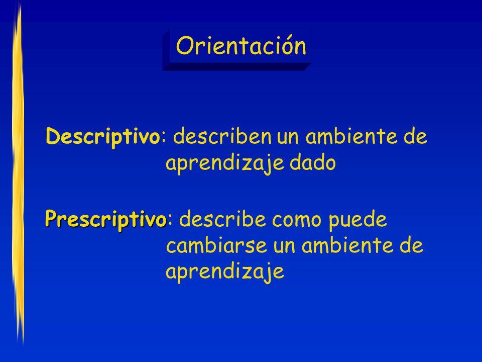 Orientación Descriptivo: describen un ambiente de aprendizaje dado Prescriptivo Prescriptivo: describe como puede cambiarse un ambiente de aprendizaje