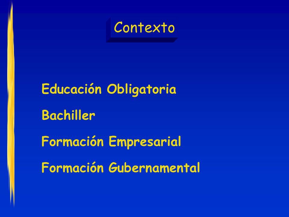 Contexto Educación Obligatoria Bachiller Formación Empresarial Formación Gubernamental