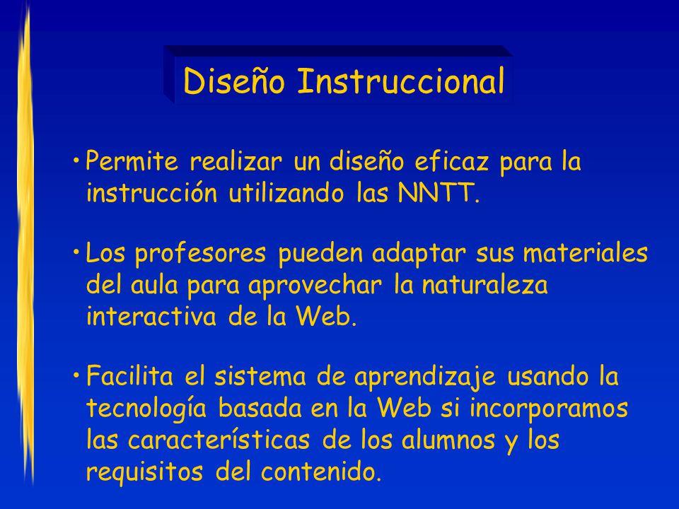 Diseño Instruccional Los profesores pueden adaptar sus materiales del aula para aprovechar la naturaleza interactiva de la Web.