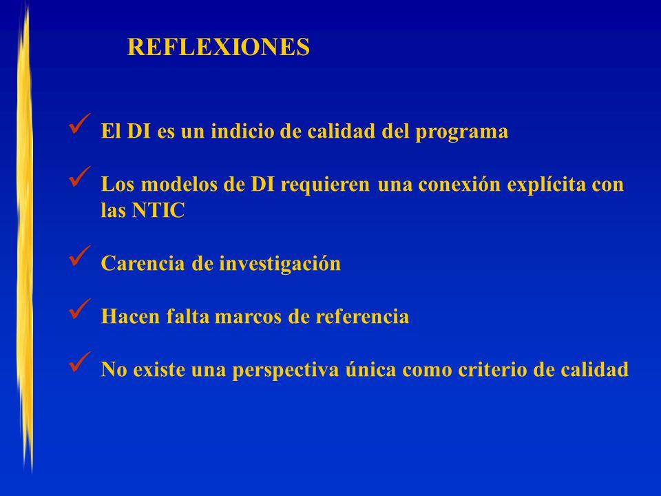 REFLEXIONES El DI es un indicio de calidad del programa Los modelos de DI requieren una conexión explícita con las NTIC Carencia de investigación Hacen falta marcos de referencia No existe una perspectiva única como criterio de calidad