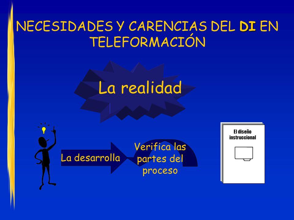 La desarrolla DI NECESIDADES Y CARENCIAS DEL DI EN TELEFORMACIÓN La realidad Verifica las partes del proceso El diseño instruccional