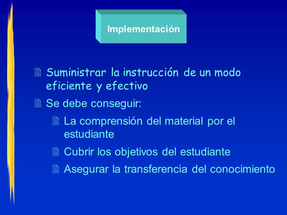 Implementación 2Suministrar la instrucción de un modo eficiente y efectivo 2Se debe conseguir: 2La comprensión del material por el estudiante 2Cubrir los objetivos del estudiante 2Asegurar la transferencia del conocimiento