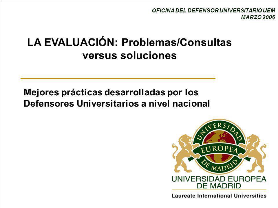 OFICINA DEL DEFENSOR UNIVERSITARIO UEM MARZO 2006 LA EVALUACIÓN: Problemas/Consultas versus soluciones Mejores prácticas desarrolladas por los Defensores Universitarios a nivel nacional