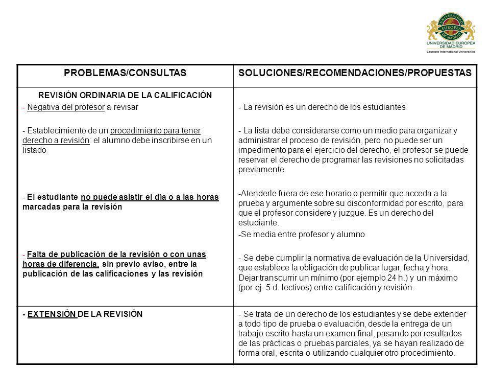 PROBLEMAS/CONSULTASSOLUCIONES/RECOMENDACIONES/PROPUESTAS REVISIÓN ORDINARIA DE LA CALIFICACIÓN - Negativa del profesor a revisar - Establecimiento de