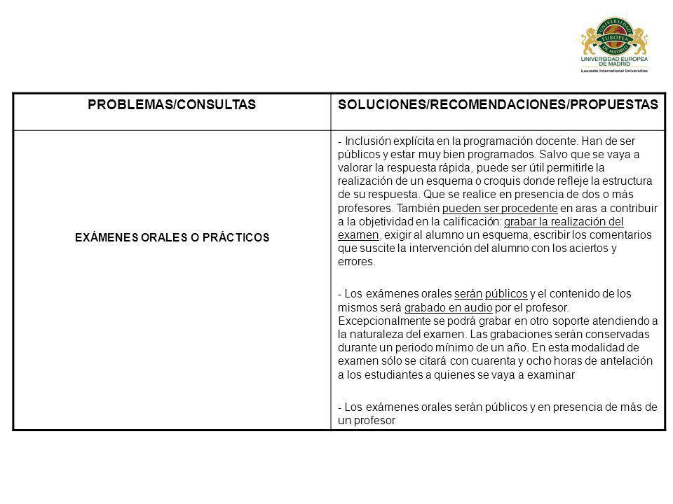 PROBLEMAS/CONSULTASSOLUCIONES/RECOMENDACIONES/PROPUESTAS EXÁMENES ORALES O PRÁCTICOS - Inclusión explícita en la programación docente.