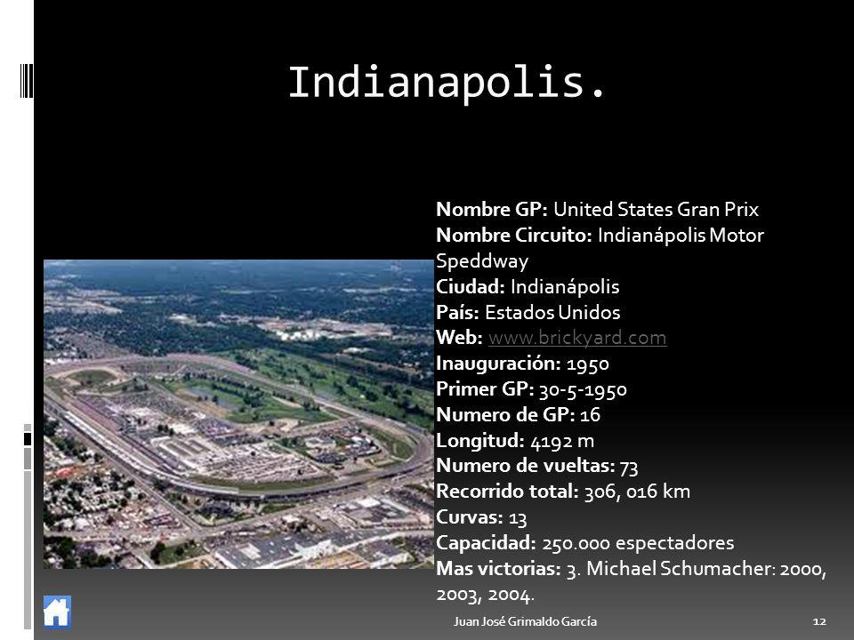 Juan José Grimaldo García 12 Juan José Grimaldo García 12 Indianapolis. Nombre GP: United States Gran Prix Nombre Circuito: Indianápolis Motor Speddwa