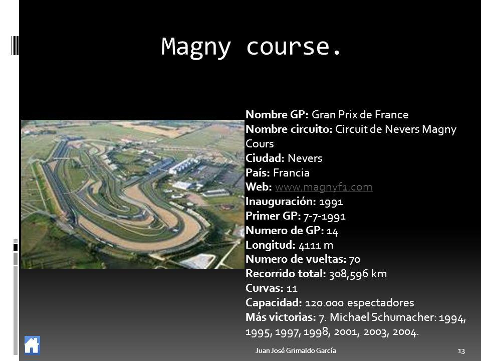 Juan José Grimaldo García 13 Juan José Grimaldo García 13 Magny course. Nombre GP: Gran Prix de France Nombre circuito: Circuit de Nevers Magny Cours
