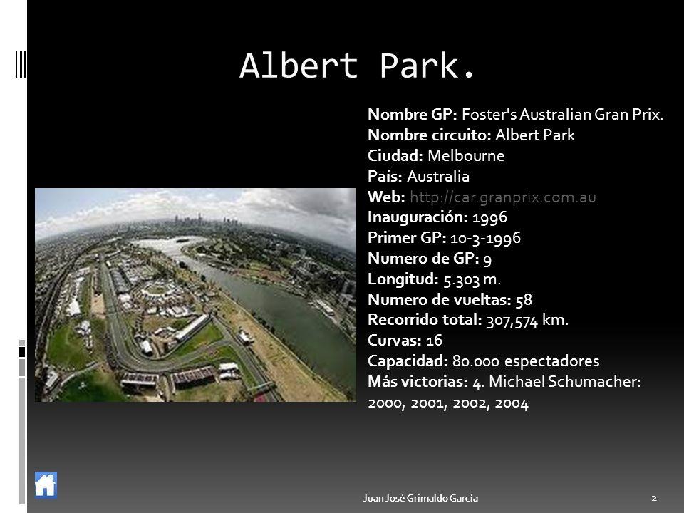 Juan José Grimaldo García 2 2 Albert Park. Nombre GP: Foster's Australian Gran Prix. Nombre circuito: Albert Park Ciudad: Melbourne País: Australia We