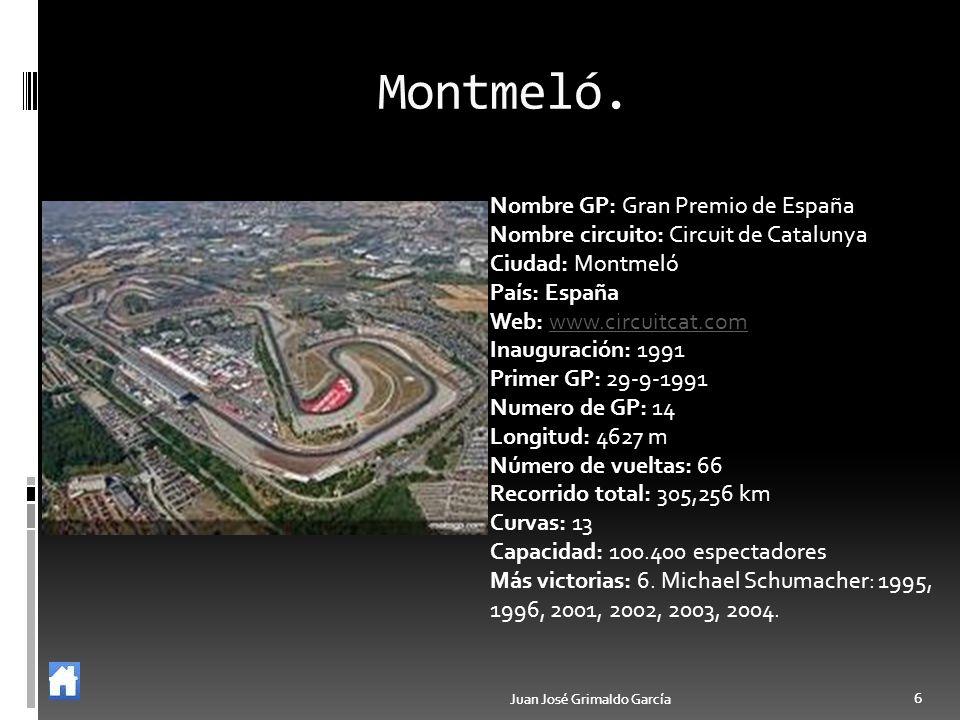6 6 Montmeló. Nombre GP: Gran Premio de España Nombre circuito: Circuit de Catalunya Ciudad: Montmeló País: España Web: www.circuitcat.comwww.circuitc