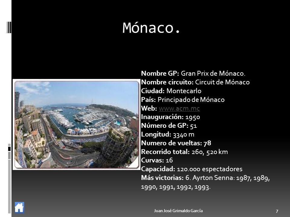 Juan José Grimaldo García 7 7 Mónaco. Nombre GP: Gran Prix de Mónaco. Nombre circuito: Circuit de Mónaco Ciudad: Montecarlo País: Principado de Mónaco
