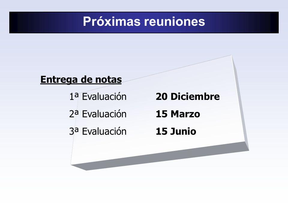 Entrega de notas 1ª Evaluación20 Diciembre 2ª Evaluación15 Marzo 3ª Evaluación15 Junio Próximas reuniones