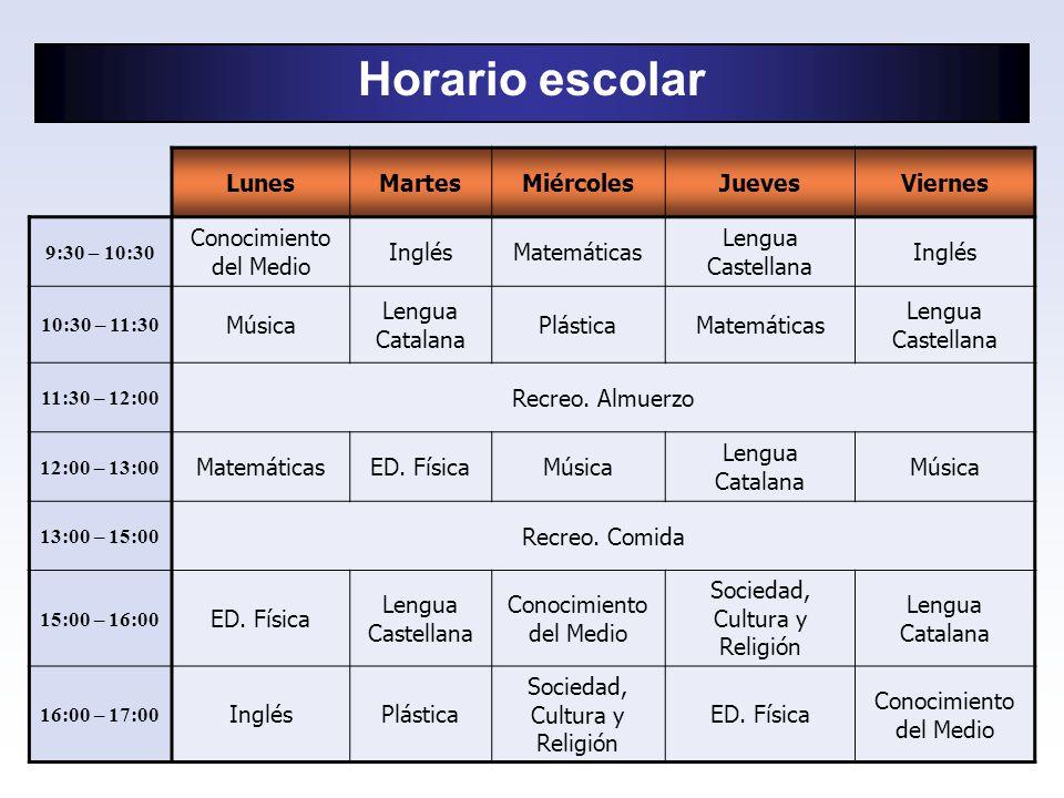 Horario escolar LunesMartesMiércolesJuevesViernes 9:30 – 10:30 Conocimiento del Medio InglésMatemáticas Lengua Castellana Inglés 10:30 – 11:30 Música