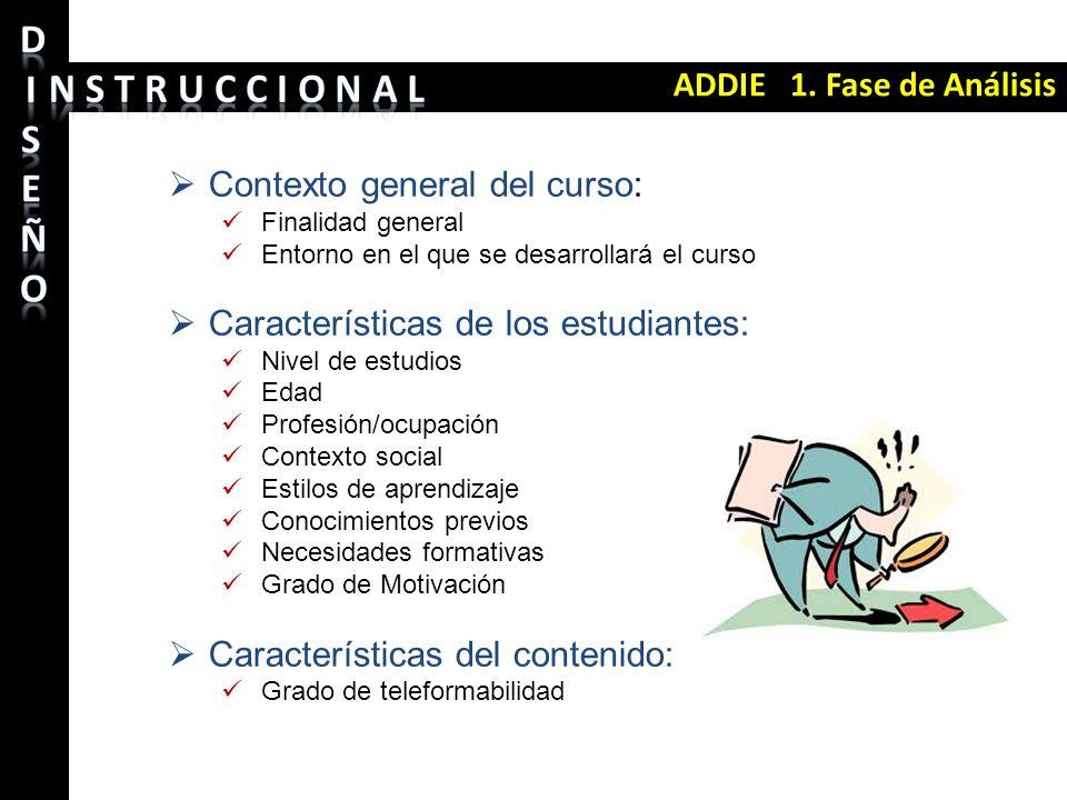 ADDIE 1. Fase de Análisis Contexto general del curso: Finalidad general Entorno en el que se desarrollará el curso Características de los estudiantes: