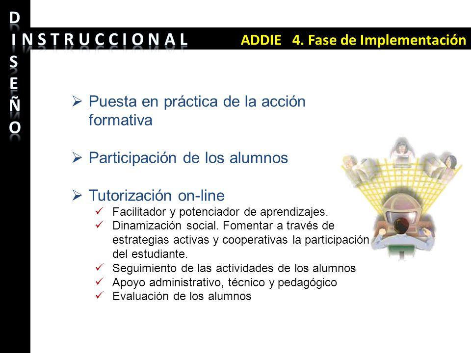 ADDIE 4. Fase de Implementación Puesta en práctica de la acción formativa Participación de los alumnos Tutorización on-line Facilitador y potenciador