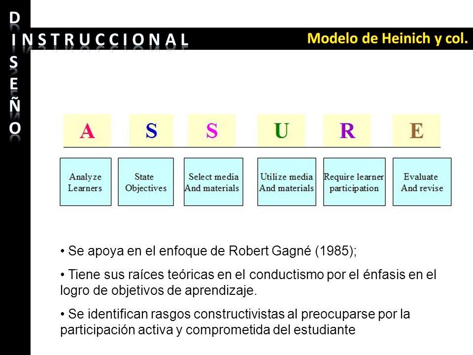 Se apoya en el enfoque de Robert Gagné (1985); Tiene sus raíces teóricas en el conductismo por el énfasis en el logro de objetivos de aprendizaje. Se