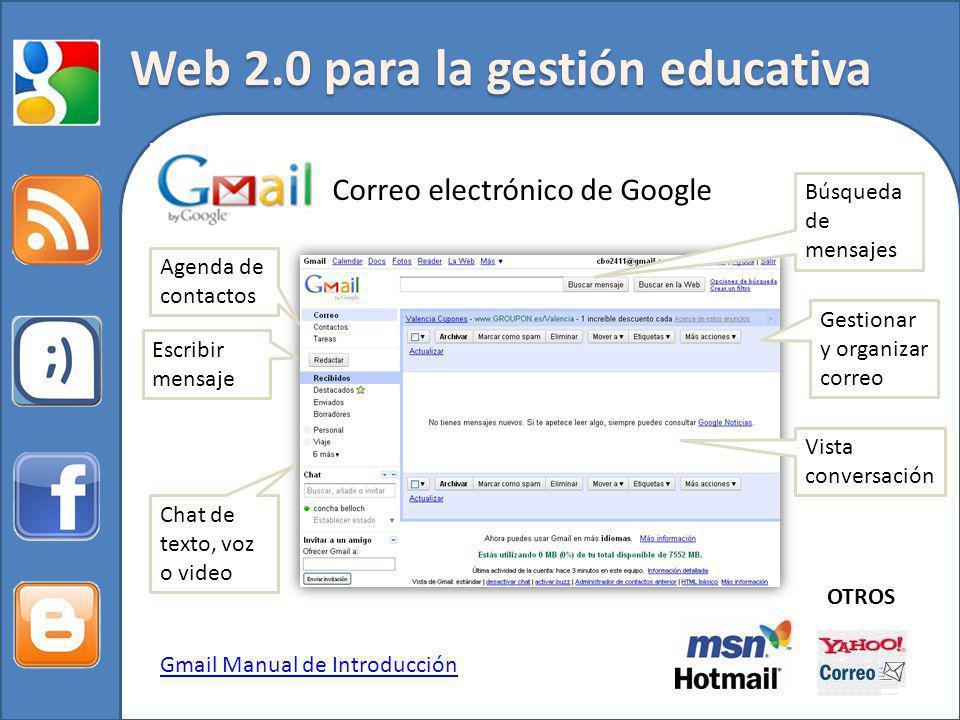 Web 2.0 para la gestión educativa Correo electrónico de Google Agenda de contactos Escribir mensaje Gestionar y organizar correo Chat de texto, voz o video Búsqueda de mensajes Vista conversación Gmail Manual de Introducción OTROS
