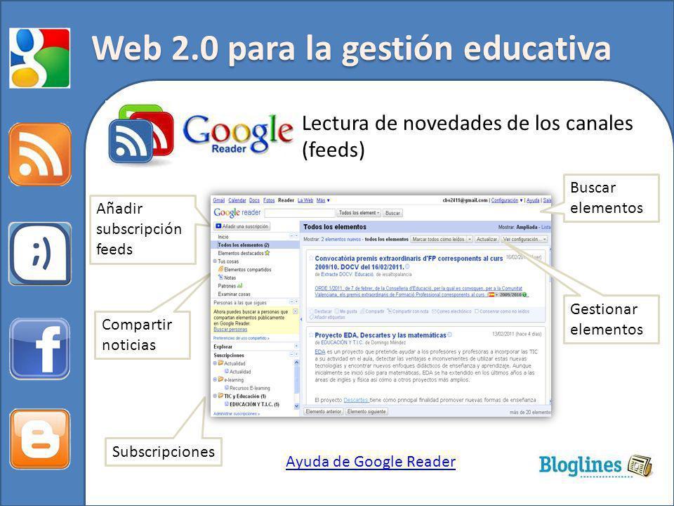 Web 2.0 para la gestión educativa Lectura de novedades de los canales (feeds) Ayuda de Google Reader Subscripciones Añadir subscripción feeds Compartir noticias Buscar elementos Gestionar elementos