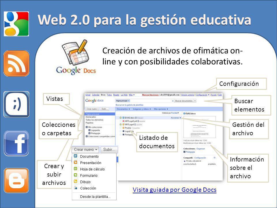 Web 2.0 para la gestión educativa Creación de archivos de ofimática on- line y con posibilidades colaborativas. Visita guiada por Google Docs Informac